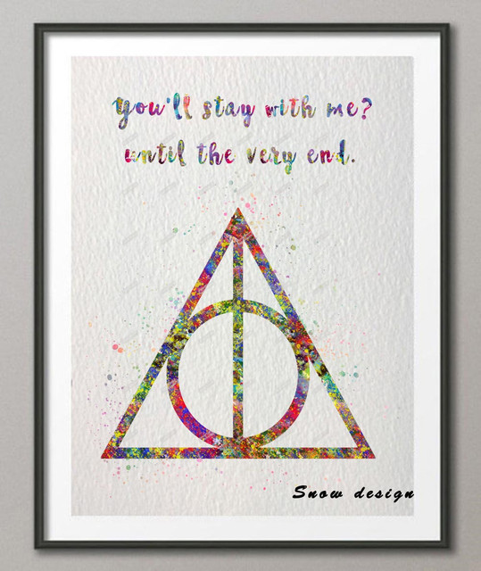 Original watercolor Deathly Hallows Quote poster print ...