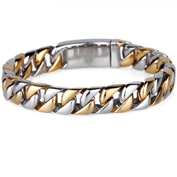 Mb50 мужчины браслет 22 см ширина 1.3 см 316L нержавеющая сталь Jewlery мужчины подарок ювелирные изделия золото серебро браслет, Fahion, Современный