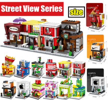 MOC Mini City Street Food Candy Pizza coffee Shop Bookstore fit figures Building Blocks bricks Kids Educational Toys