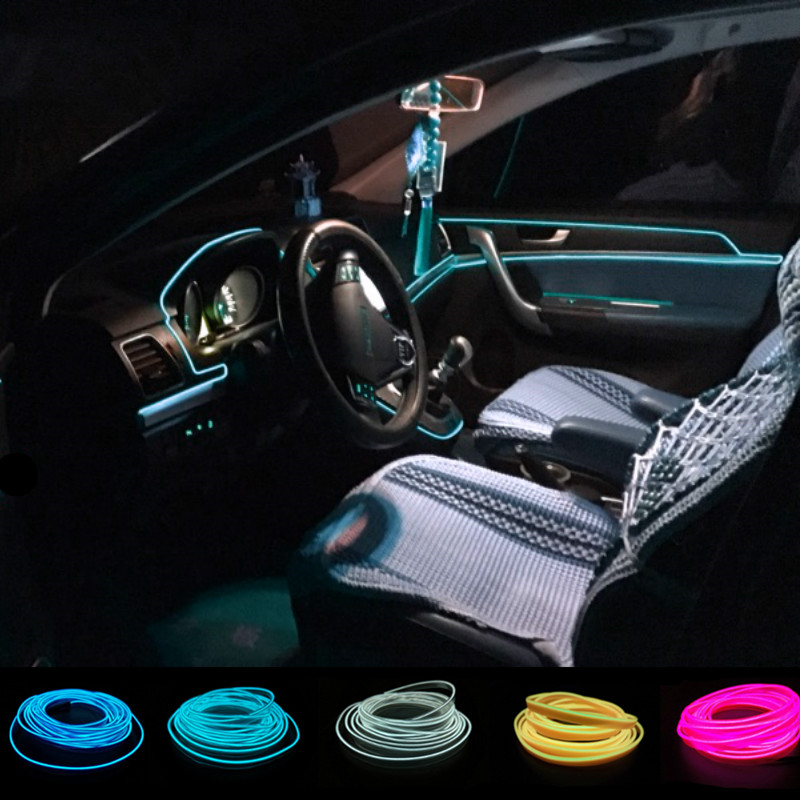 JURUS 1M/2M/3Meter/5M Interior Lighting EL Wire Rope Tube Line Flexible Neon Strip In Car Light 12V Drive Led Auto Accessories image