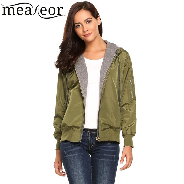 Meaneor Hoodie Long Sleeve Jackets Patchwork Pockets Drawstring Women Clothing Warm Relaxed Fit Bomber Jackets Autumn Clothes