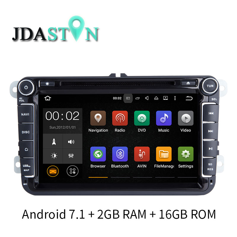 JDASTON 8 INCH 2 DIN ANDROID 7.1 Car GPS Radio DVD For Skoda VW Passat B6 Polo Golf 4 5 Touran T5 Jetta Caddy Tiguan Bora Seat