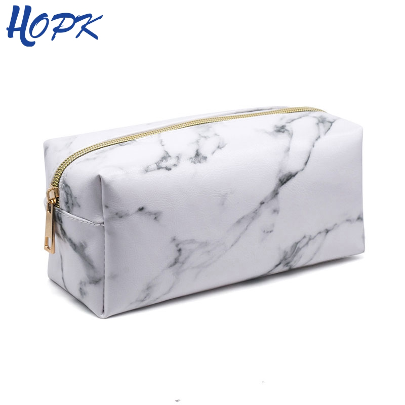 Nordic Style Marble Pencil Case for Girls Toiletry Makeup Storage Supplies Marble Pattern Bts Pencil Box Pencil Bag School Tools