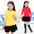 Autumn of Children's Clothing New Leisure Shirt Cotton Korean Girls Child Seven Sleeve T Shirt Kids Clothing 10 Colour