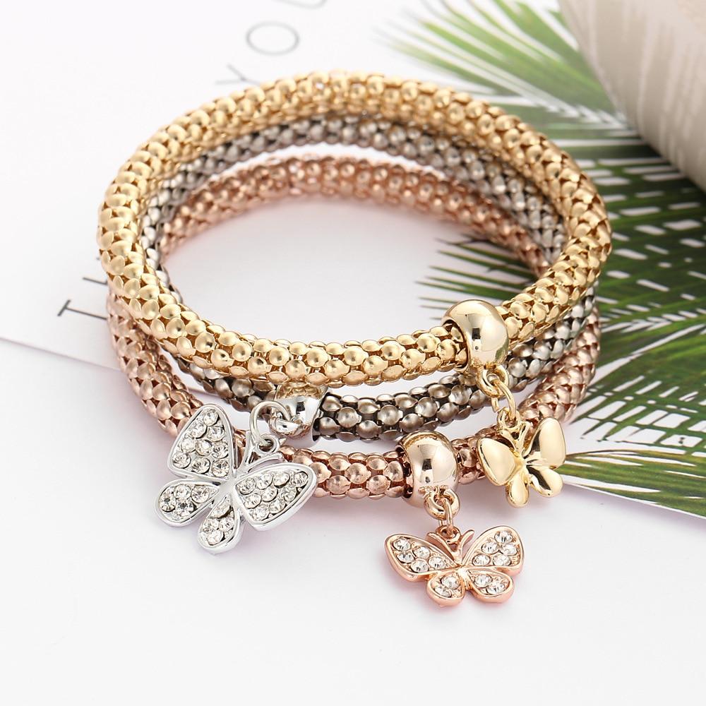 Set Crystal Butterfly Bracele Elastic Heart Pendants Friendship  Charm Bracelets