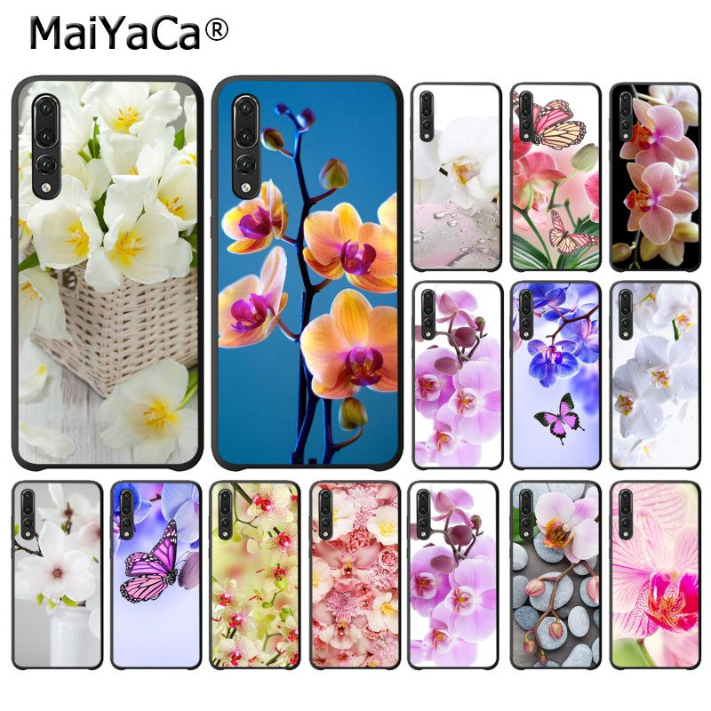 MaiYaCa Orchid Flowers Colorful Soft Black Phone Case for Huawei P20Lite P10 Plus Mate9 10 Mate10 Lite P20 Pro Honor10 View10