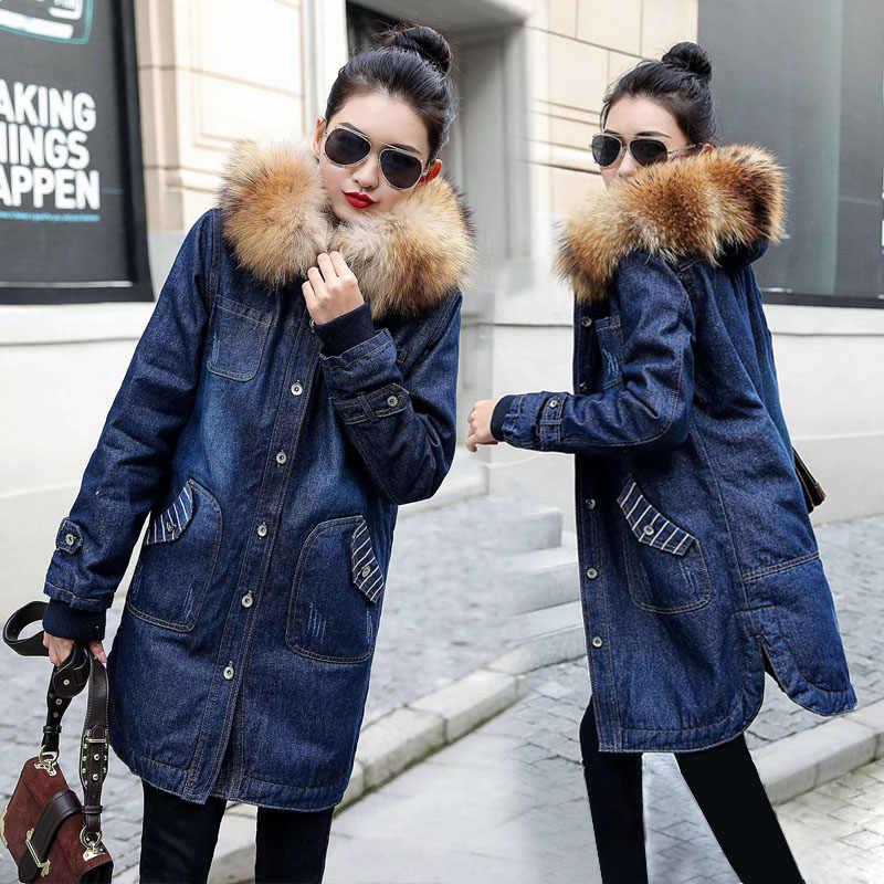 Ciepła futerkowa podszewka kobiety podstawowe płaszcz z kapturem jeansowa kurtka 2019 jesienno-zimowa kurtka dżinsowa dla kobiet Plus rozmiar 5XL Denim płaszcz kobiet