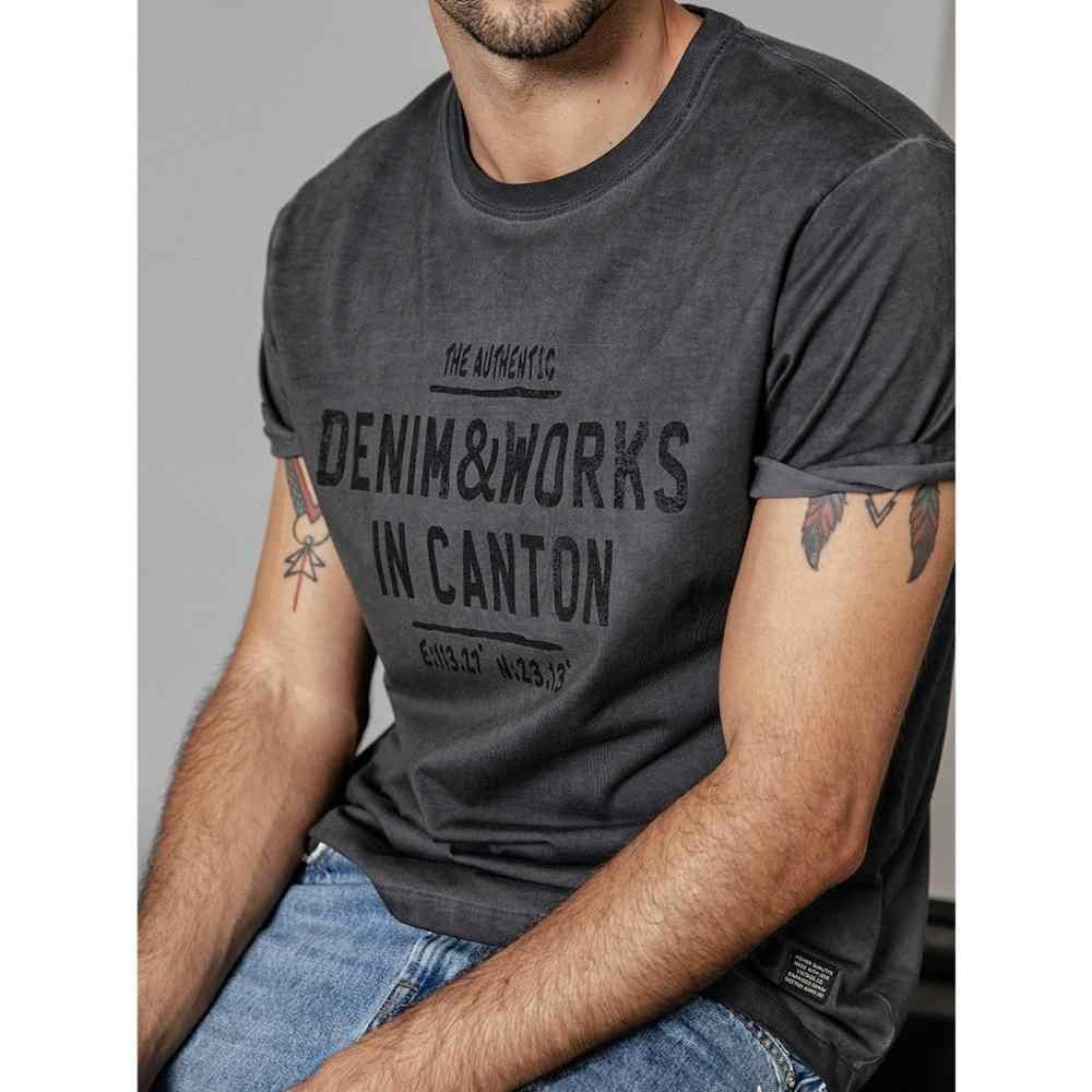 SIMWOOD 2019 夏新 tシャツ男性ヴィンテージ洗浄レタープリントヒップホップ tシャツ男性ストリートトップスプラスサイズの服 190249