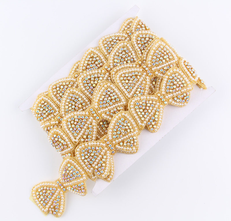 1Yard Lovely Gold Base Pearl Bow Rhinestone Applique Patch Trim Hot-Fix  Crystal Pearl Applique 8dda3dfaaba8