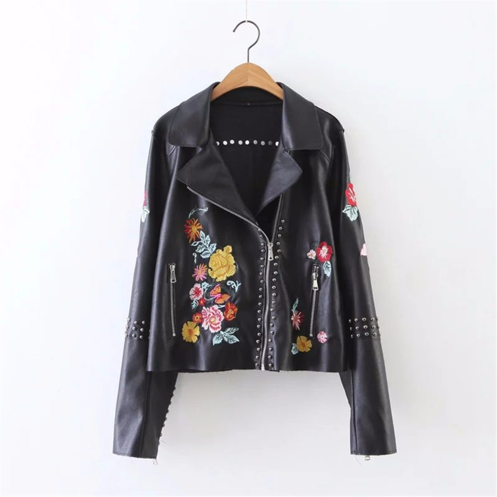 Women Leather Jacket 2018 Floral Female Coat Spring And Autumn Zipper Soft PU Rivet Black Ladies Flower Embroidered Jackets