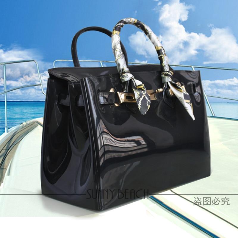 Hot sale popular <font><b>turquoise</b></font> bag female <font><b>handbag</b></font> plastic PVC waterproof rubber bags jelly beach bags candy color women purse
