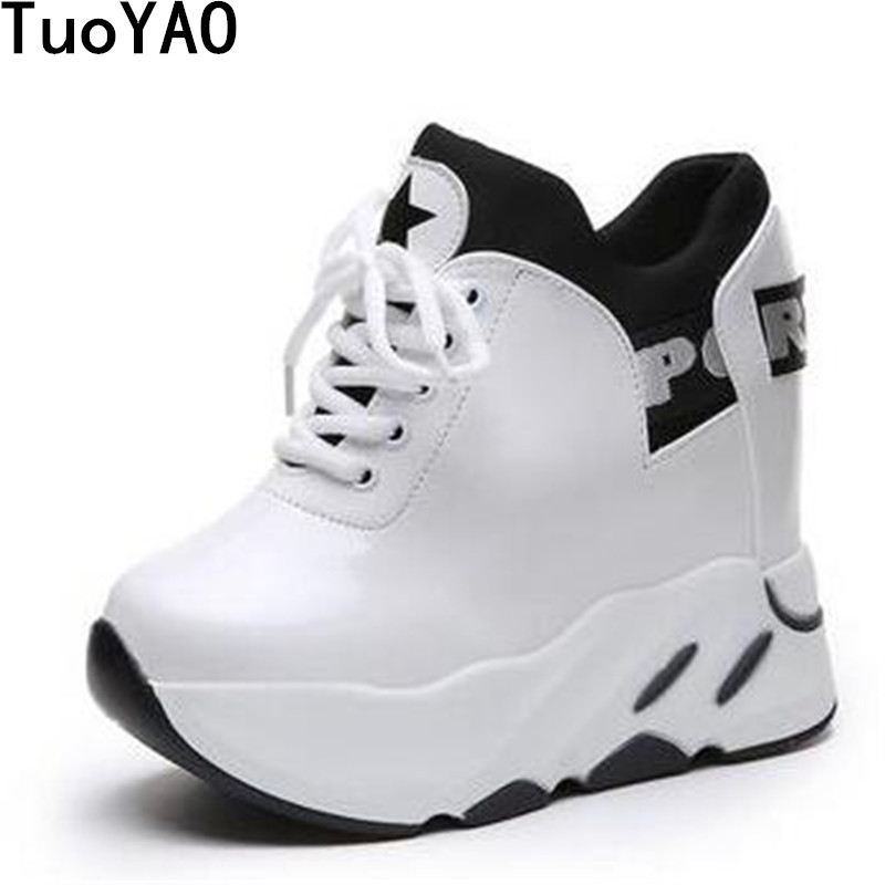 Femmes Printemps Semelles Caché Nouvelle 2019 Compensées Noir À White Chaussures Décontractées Cm 12 black Hauteur Sneakers Blanc Croissante Talon Vulcanisées Femme nqWqX5T