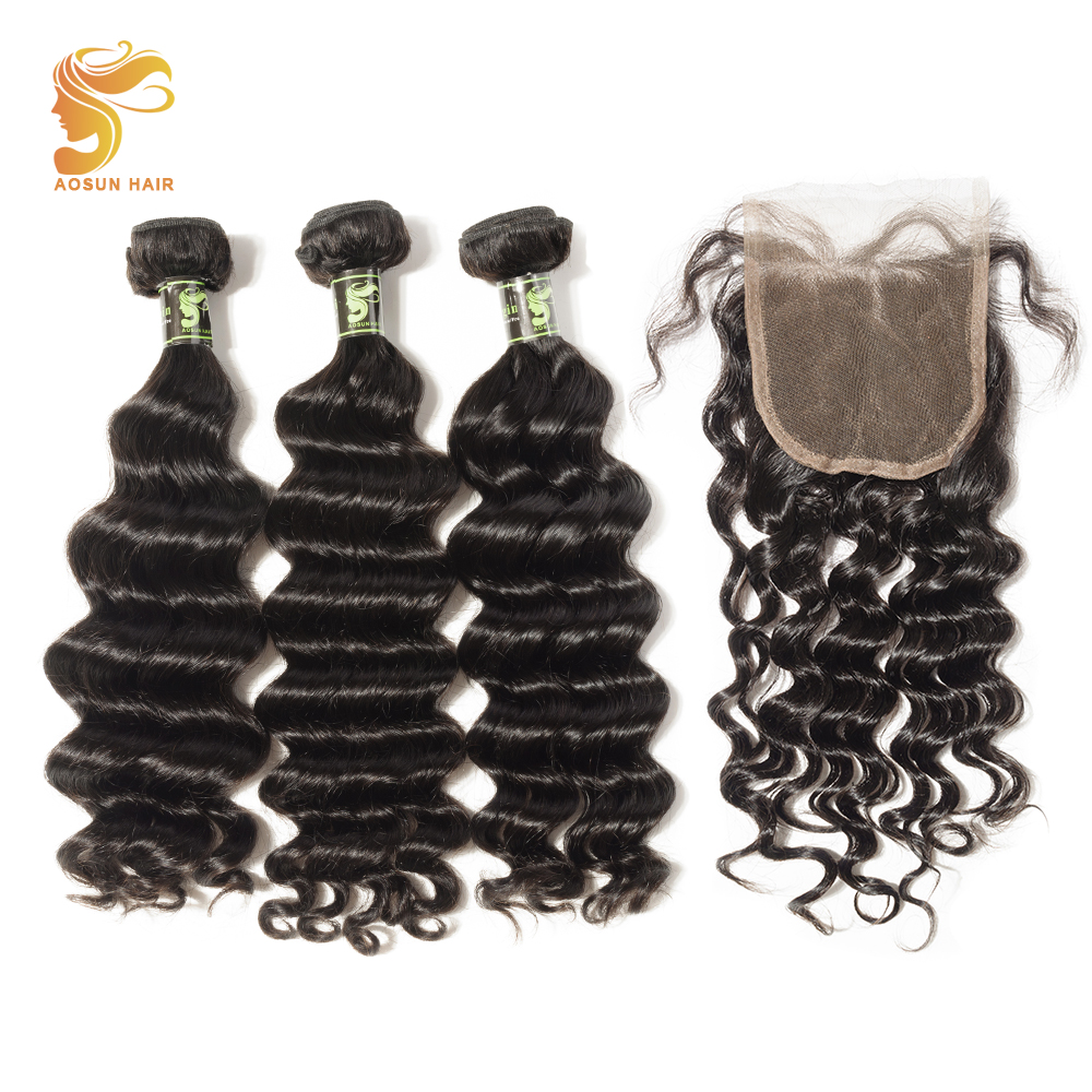 AOSUN HAIR Brazilian Natural Wave Hair Extension 3 Bundles With 4*4 Lace Closure Double Weft 100% Remy Human Hair Natural Color