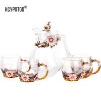 Цветной эмалированный набор для воды и чайника, термостойкая Хрустальная кофейная чашка 5 шт./компл.