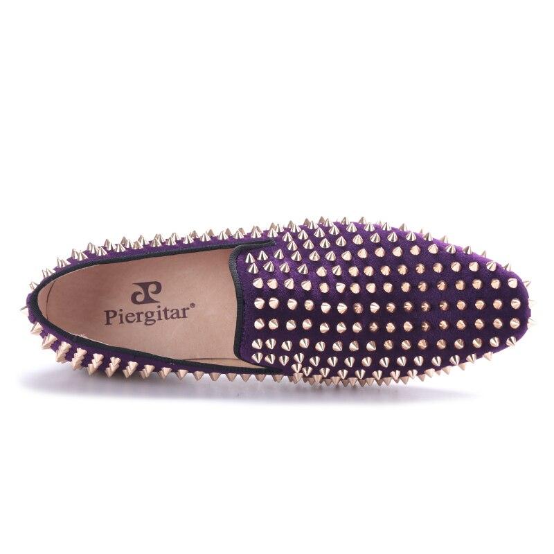 Plus Moda Dos Chinelos Sapatos Ouro 2017 Veludo Roxo Somking Mocassins Com Piergitar Baile Size E Rebites Handmade Homens Festa HFZCxwxq