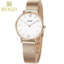 BINZI Mujeres Relojes Señoras reloj de Pulsera de Reloj de Cuarzo de La Manera 2018 de Las Mujeres Relojes de Pulsera de Acero Del Reloj del relogio feminino montre femme