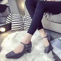 2017 Spring British Style Med Heel High Heel Pumps With Strap Square Toe Lady Office Pumps Casual Spring Summer Shoes