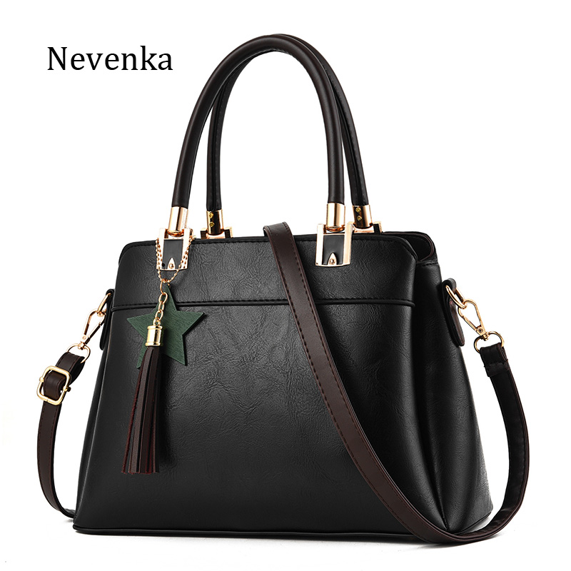Nevenka Fashion Women Pu Leather Bag High Quality Tassel Star Lock Shoulder Bags Luxury Style Chains Pleated Casual Tote Handbag цена