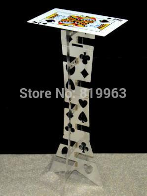 Aluminum folding table (Silver,Poker Pattern) - Magic Tricks,Magic Accessories,Close Up,mentalism Magic Props,Stage feather sticks variation magic trick stage close up magic props accessories mentalism comedy