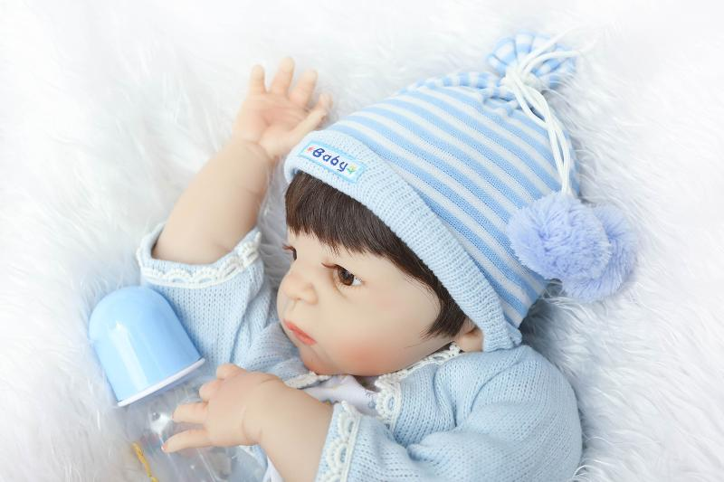 55cm Full Silicone Reborn Baby Boy Doll Toy Like Real 22inch Vinyl Newborn Babies Doll With Magnet Mouth Girls Bonecas