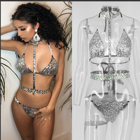 Sexy Stage Costume Women Sequined Bikini Set Pole Dance Clothing Nightclub Dj Ds Gogo Dancer Rave Outfit Female Wears DNV10684