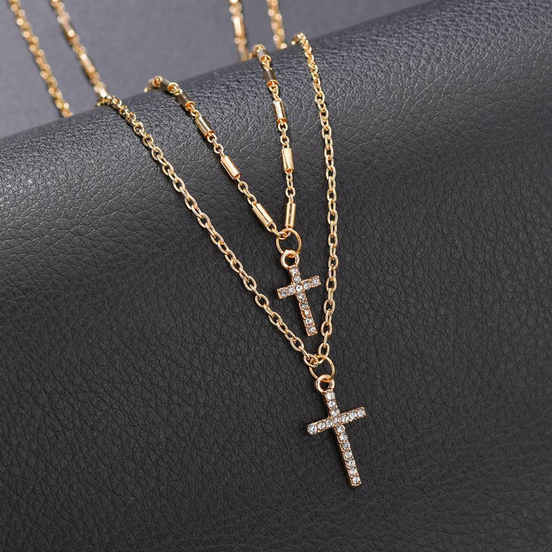 NIUYITID Religion Double Layer Chain With Cross Crystal Pendant Necklace Jesus Men Women Jewelry collier femme 2019 (6)