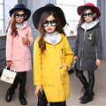 5-14Years Old Children Long Trench Good Quality Outerwear Spring&Winter Girls Fashion Long Coat Thickness Winter Trench Kids