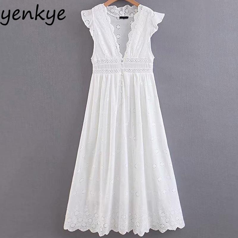 Сладкий Для женщин сексуальная выдалбливают вышивка белые вечерние платье Леди рюшами без рукавов с v-образным вырезом Высокая Талия трапе...