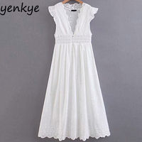 Sweet Women Sexy Hollow Out Embroidery White Party Dress Lady Ruffle V Neck Sleeveless High Waist A line Long Dress Summer SDP85