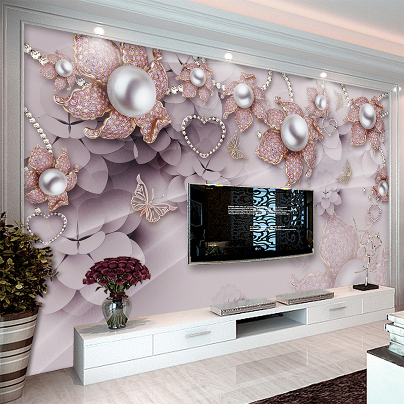 European Style Luxury Jewelry Flowers Photo Mural Wallpaper Living Room TV Sofa Backdrop Wall Home Decor Papel De Parede 3D Sala