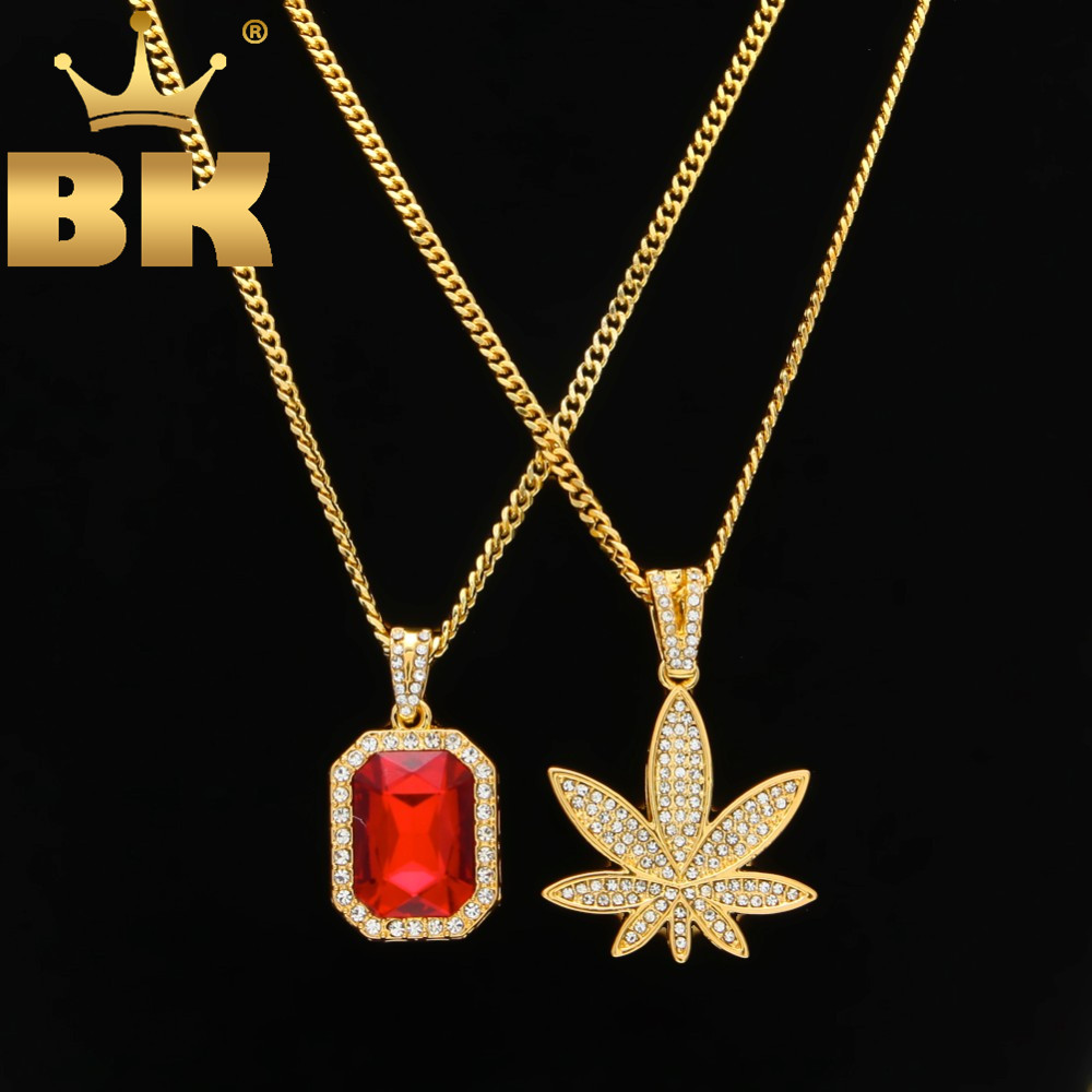 """Gold Color Small Weed Pot Leaf Pendant Necklace And Mini Round Rhinestone Chain Set With 24"""" Cuban Chain Hiphop Rapper Jewelry"""