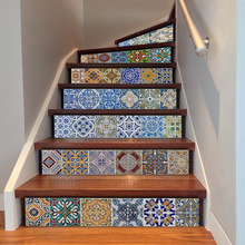 Ceramic Geometric Pattern Stickers for Stairs – 6 Pieces/Set