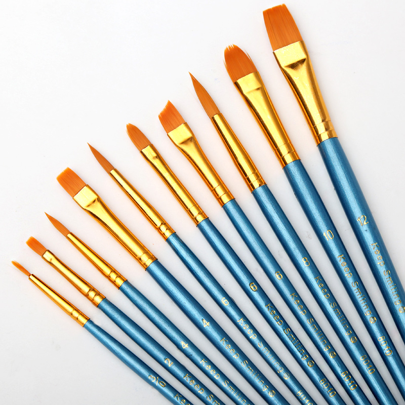 BGLN 10Pcs/Set Watercolor Gouache Paint Brushes Different Shape Round Pointed Tip Nylon Hair Painting Brush Set Art Supplies 3