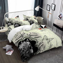 Valentines Day Couples Bedding Set Skull Rose Duvet Cover Butterfly Print King Queen Pillowcase Home Decor 3Pcs