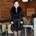 Frete grátis!!! inverno das mulheres nova marca genuína pele de carneiro de vison roupas de couro grande pele de raposa fino casaco/M-4XL