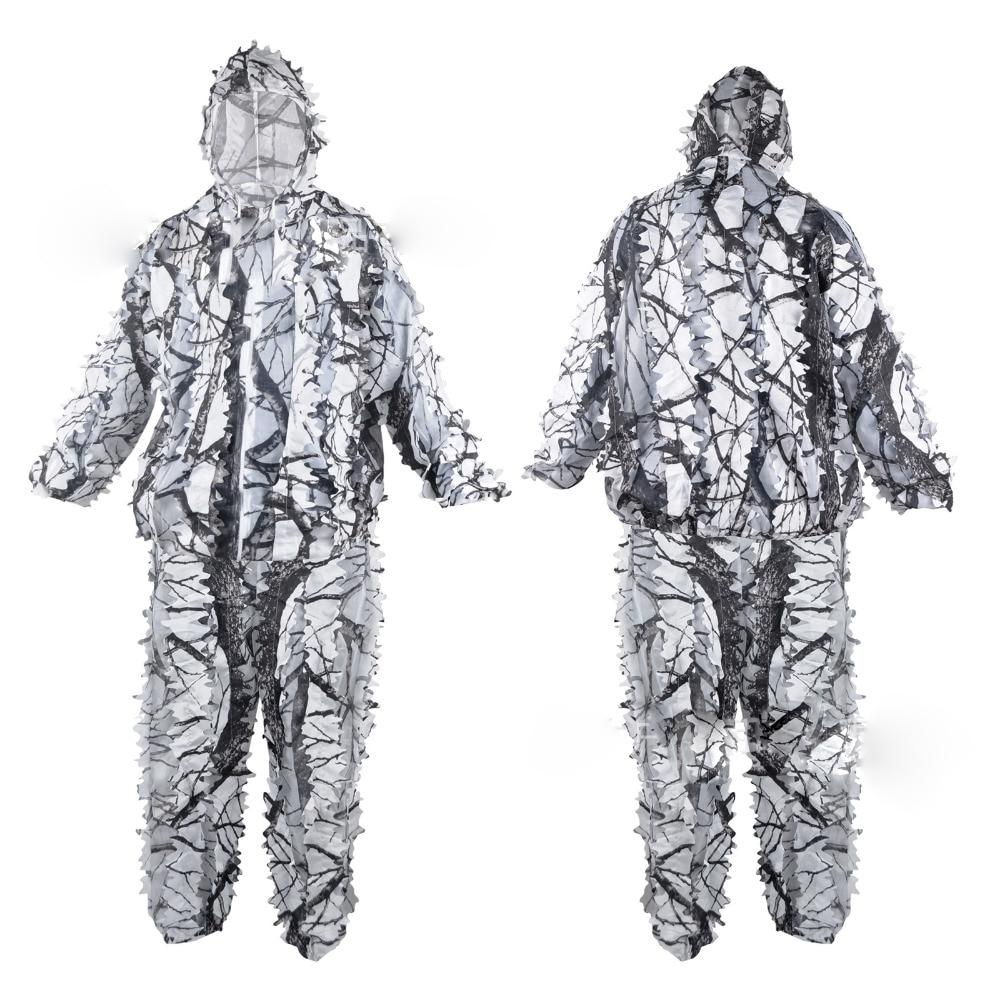 Blanc neige Ghillie costumes en plein air Camouflage militaire chasse tissu Airsoft tenue 3D déguisement uniforme costumes ensemble Sniper Camo costume