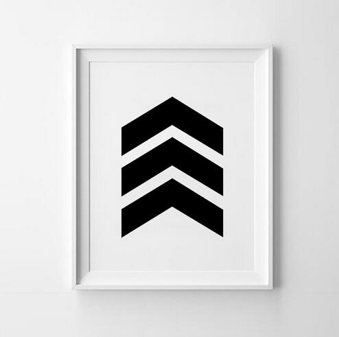 Chevron Print Art Poster Inspirational Wall Home Decor Gift Idea Graphic Geometric Black And White No Frame In Painting Calligraphy From