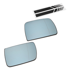 2 Pack Door Wing Mirror Glass Heated Blue Left +Right Driver Passenger Side +2 Line Mirror Stickers for BMW X5 E53 99-06 pair of side mirror glass heated 51167039598 for bmw x5 e53 2000 2006