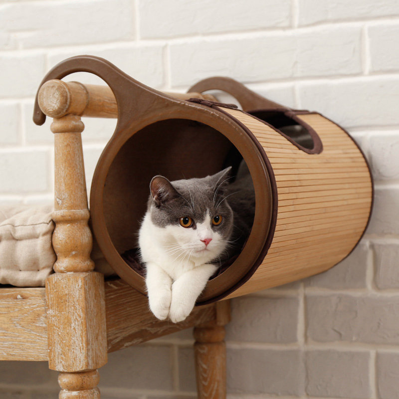 Natural Bamboo Radiator Cat Bed Home Tent Cat Tunnel Toys Hanging Wall Cat House Mat Habitat Cat Scratch Board Toys Pet Products8