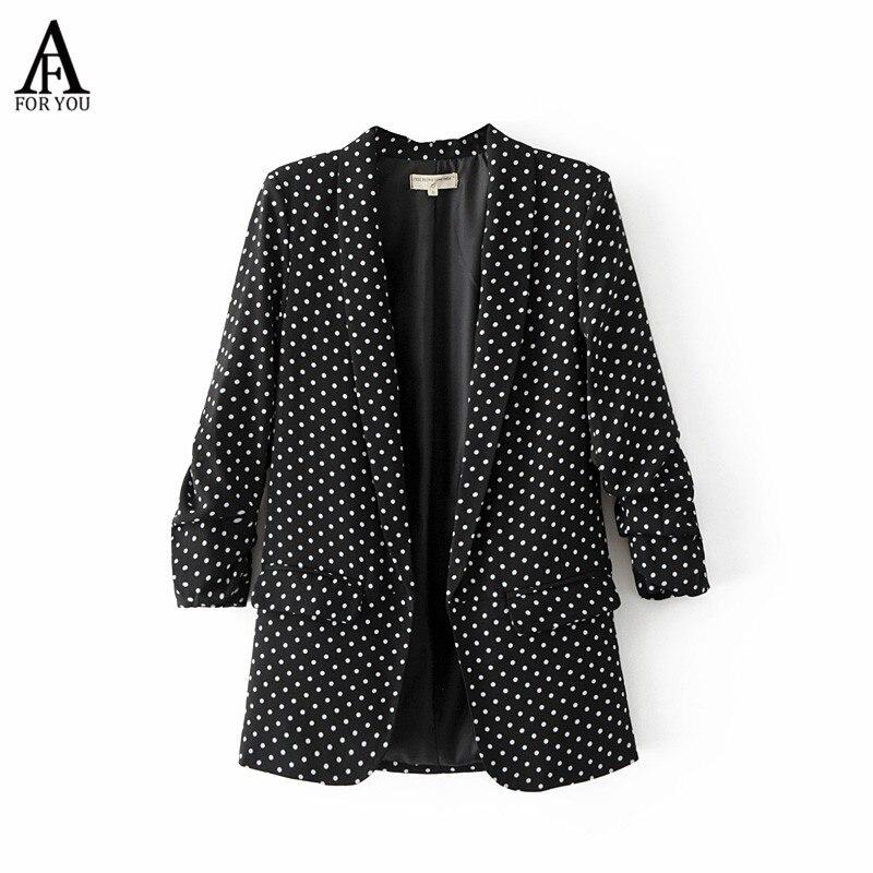 women polka dot blazer padded shoulder Notched collar long sleeve coat casual outerwear casaco feminine tops street style blazer