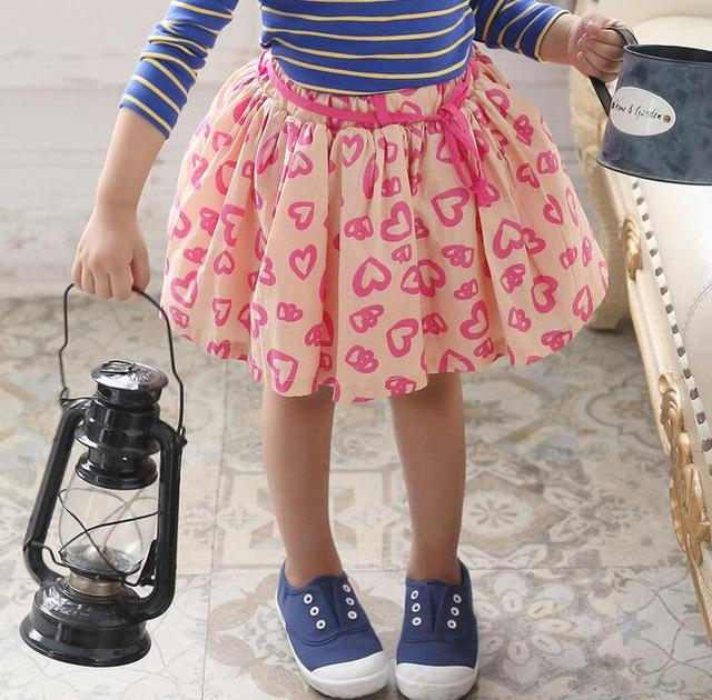2016 Autumn Korean Style Love Heart Print Little Girls Cotton Skirt Children Prined Skirts Apricot Navy
