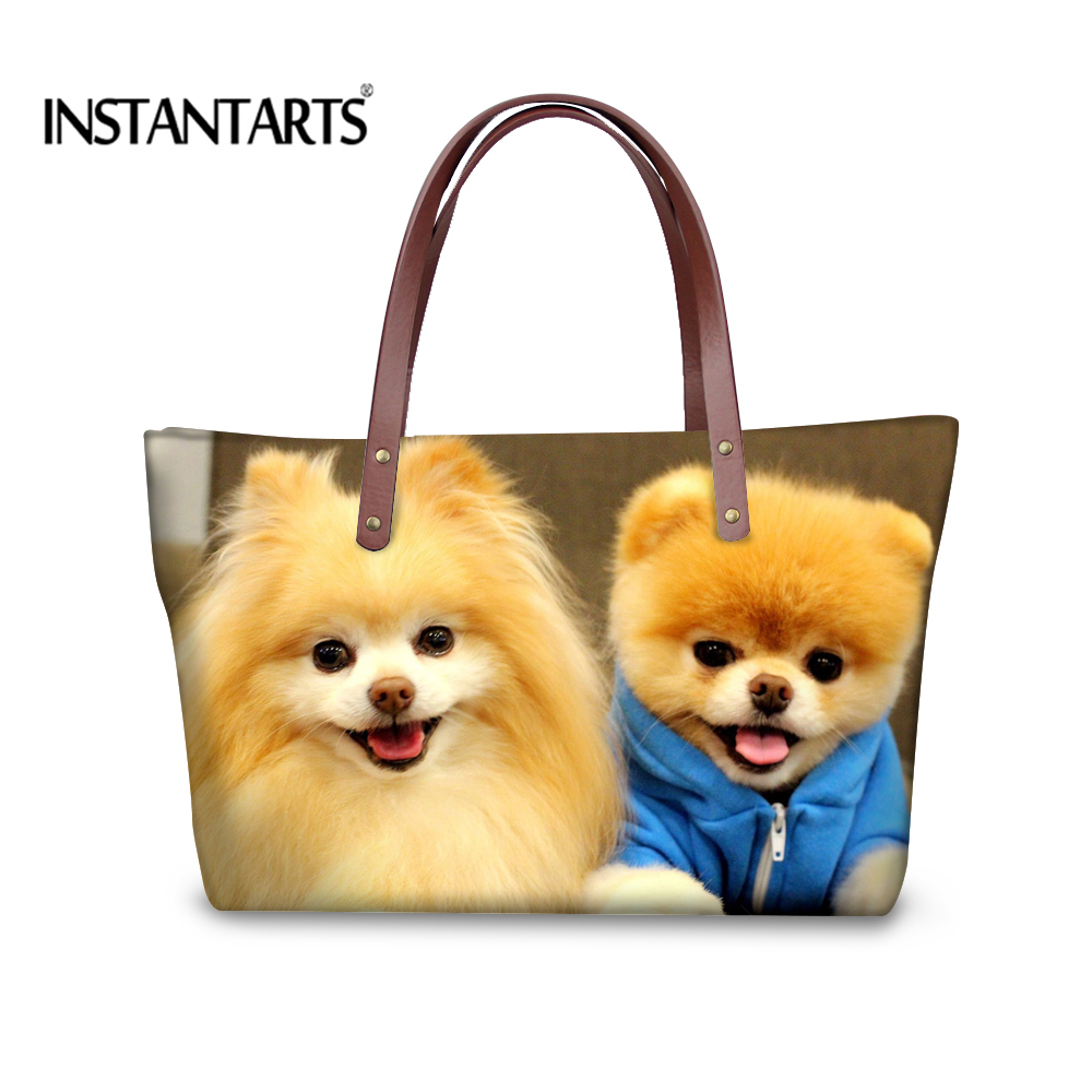 Shop2962231 Store INSTANTARTS Pomeranian Print Large Capacity Handbags for Ladies Shopping Cute Dog Travel Tote Shoulder Bag Brand Top-Handle Bags
