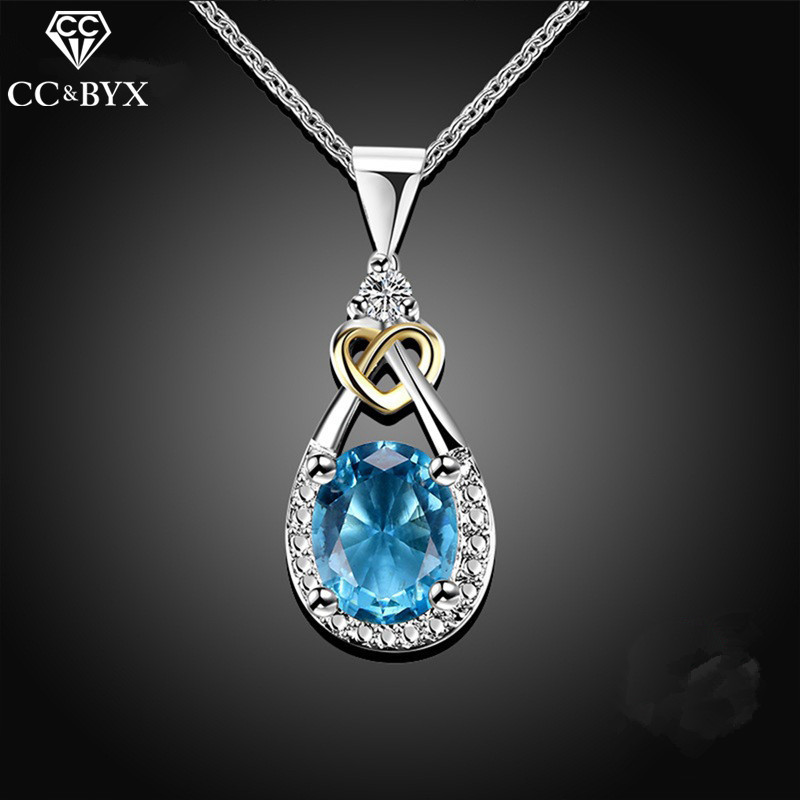 925 Sterling silver Jewelry Water Drop Necklace & Pendant Blue Stone CZ Engagement Wedding Necklace for Party Accessories CCN101