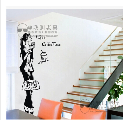 Coffee milk tea shop girl restaurant glass ceramic tile wall stickers creative DIY store window decorative wall stickers