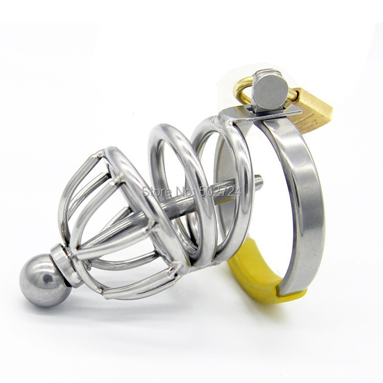 Adult Games New Lock Stainless Steel Male Chastity Device with Catheter Cock Cage Penis Cage Toy For Men