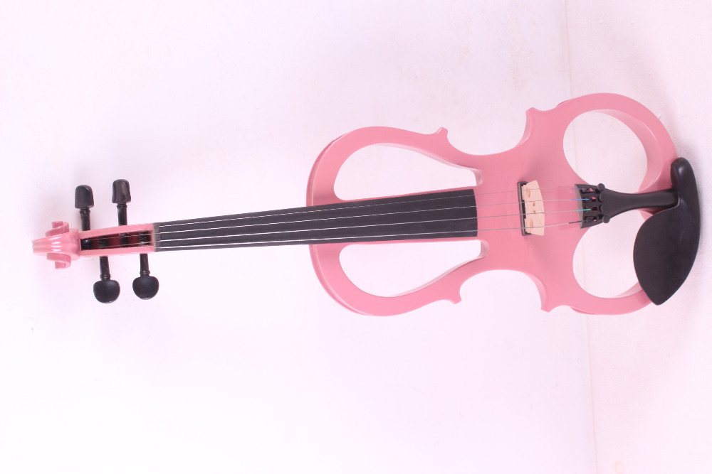 one pink 4 -String 4/4 New Electric Acoustic Violin #5-2501# i can make any color 4 strings new 4 4 electric violin silent pickup fine tone parts include new golden color 5 22 red color