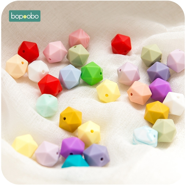 Bopoobo 10pcs 14mm Hexagon Silicone Beads Baby Teether Eco-friendly BPA Free Baby Teething Pacifier Chain Beads Baby Product 4
