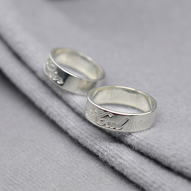 Personalized Ring Set Engrave Name Initial Band Custom 925 Solid Silver Wedding Lover Jewelry Valentines