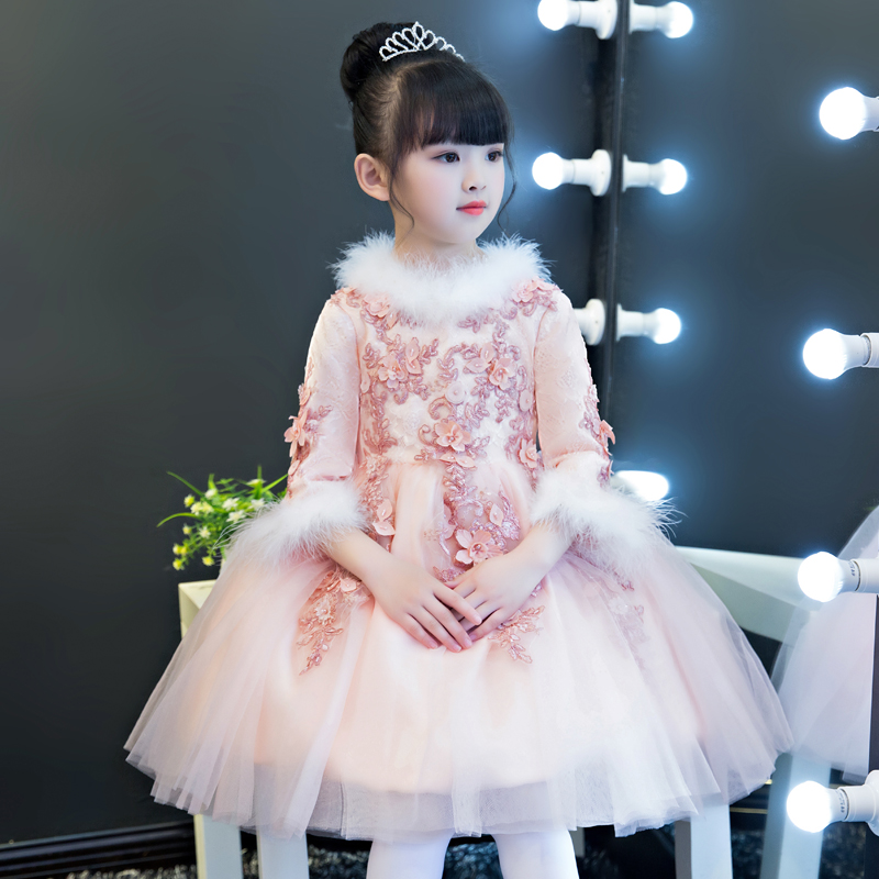Autumn Winter New Thick Warm Children Girls Lace Flowers Princess Birthday Wedding Party Dress Kids Ball Gown Model Show Dress
