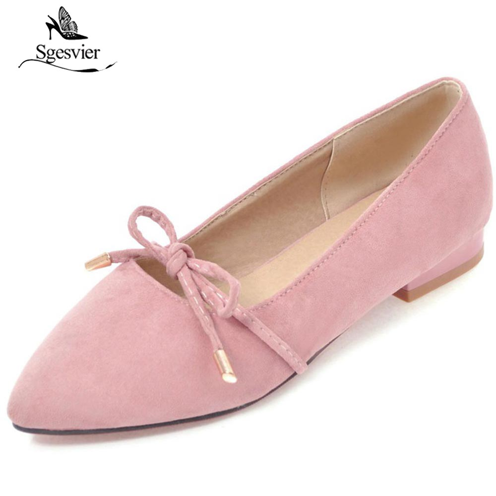 SGESVIER Spring Ladies Casual Slip-on Flats Fashion Bowtie Flats For Women Soft Lady Leisure Pointed Toe Flats Size 30-43 OX203 new 2017 spring summer women shoes pointed toe high quality brand fashion womens flats ladies plus size 41 sweet flock t179